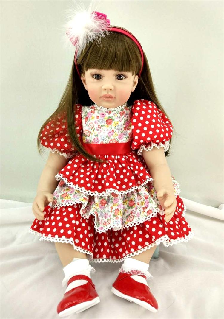 Pursue 24/60 cm Beautiful Red Dress Long Hair Silicone Reborn Toddler Baby Girl Doll Toys for Children Holiday Birthday Gifts original winx club bloom musa beautiful girl magiche fan doll collection toys