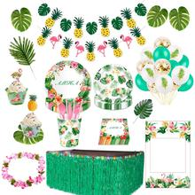 QIFU Flamingo Party Decoration Weeding Birthday Supplies Hawaiian Summer Tropical