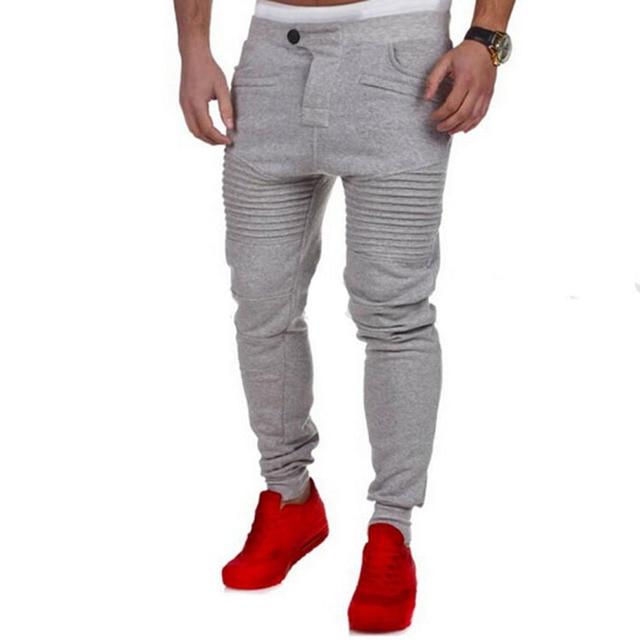 62a517ff 2019 hot New Fashion Casual Skinny Mens Track Pants Skinny Harem Sweatpants  Tracksuit Bottoms Pants Trousers