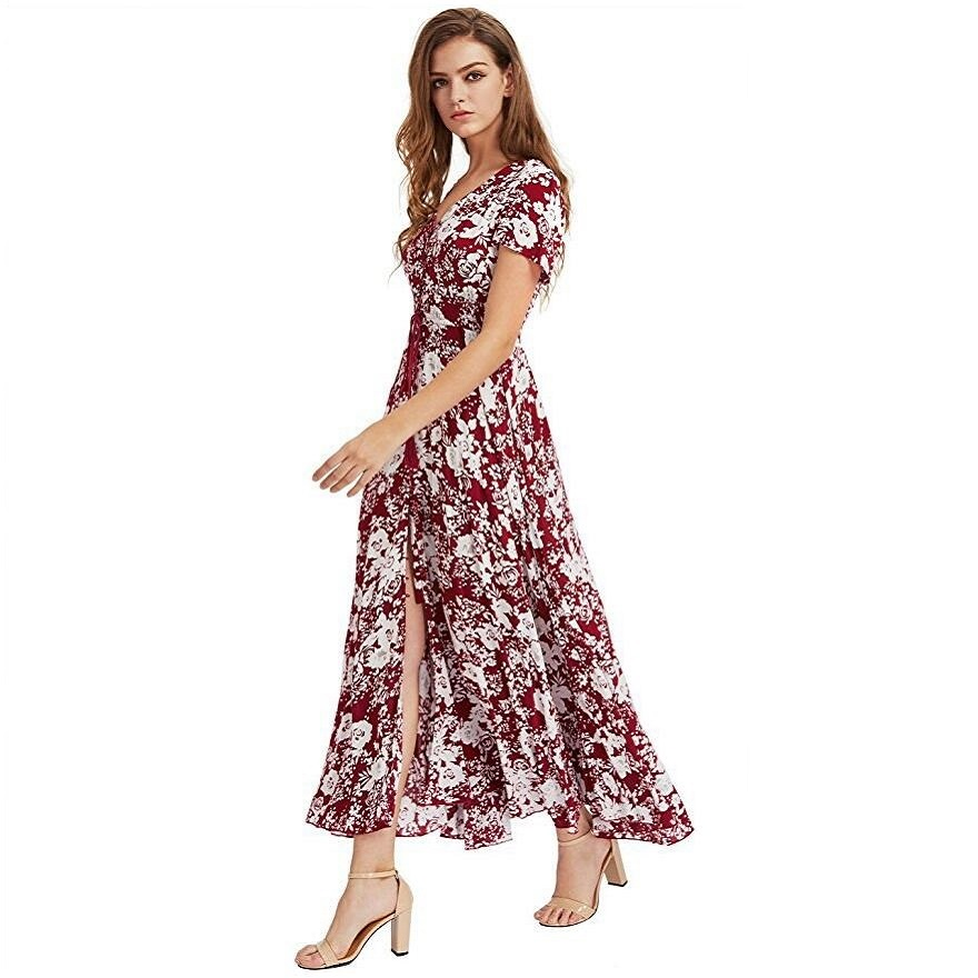 so cheap uk availability usa cheap sale US $10.99 37% OFF Women Summer Dress 2018 Casual Maxi Sundress Button Up  Split Floral Print Flowy Evening Party Dresses Boho Robe femme vestidos-in  ...