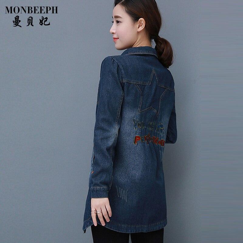 2017 new plus size M-4XL denim <font><b>jacket</b></font> women long sleeve jeans <font><b>jackets</b></font> streetwear jaquets slim Embroidery Patch Designs coats