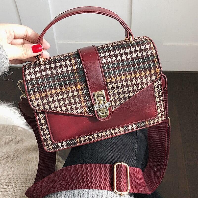 8adc3eed3987 Plaid cloth handbag Diamond crystal lock totes women messenger bag designer  PU leather new fashion handbags