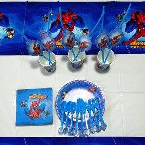Image 5 - 82pcs ספיידרמן גיבור קשיות מפת כוסות צלחות מפיות עכביש איש כף ילדים יום הולדת ספקי צד קישוט טובות