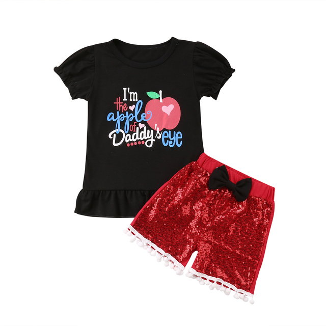 b25e5bbd6c0 0-3T Newborn Kids Baby Girls Boys Clothes Outfits Set Apple T Shirt Tops  Red Shorts Christmas Xmas Infant Children Clothing
