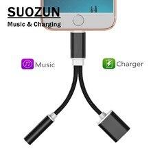 SUOZUN 2 em 1 Iluminação Adaptador Splitter para 3.5mm Aux Adaptador de Áudio Fone De Ouvido Fone de Ouvido de Telefone Para o iphone 7 /7 Plus