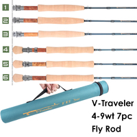 Maximumcatch V Traveler 8.6/9FT 4 9wt Fly Fishing Rod Graphite IM10 Carbon Fiber 7PCS Fast Action Travel Fly Rod