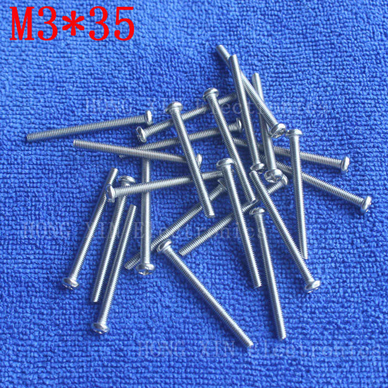 M3*35 1pcs 304 Stainless Steel Screw 35mm Round Head Screws Phillips Crosshead Thread Bolt Brand new high-quality fastener tools