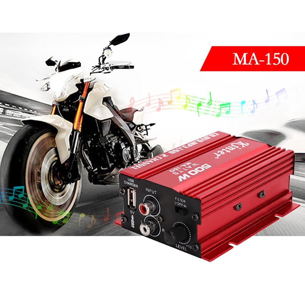 12V Car Styling 3.5mm Jack Car Amplifier 2CH 500W USB Hi-Fi Digital Stereo Audio Amplifier Car/ Motorcycle / Boat /MP3/MP4/CD
