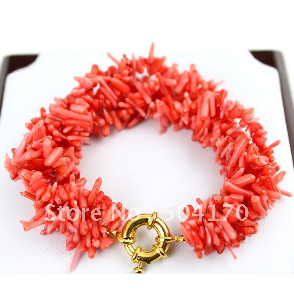 Free Shipping 5pcs/lot New Clasp 7.5inch Pink Coral Bracelets With 2*14mm Dendritic Coral Beads Wholesale CRB004