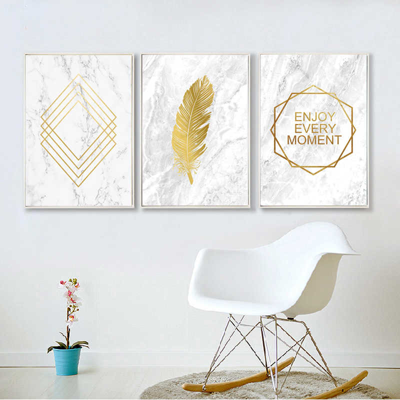Nordic Decoration Home Canvas Painting Feather Poster Yellow Wall Art Posters And Prints Abstract Painting Gold Poster Unframed