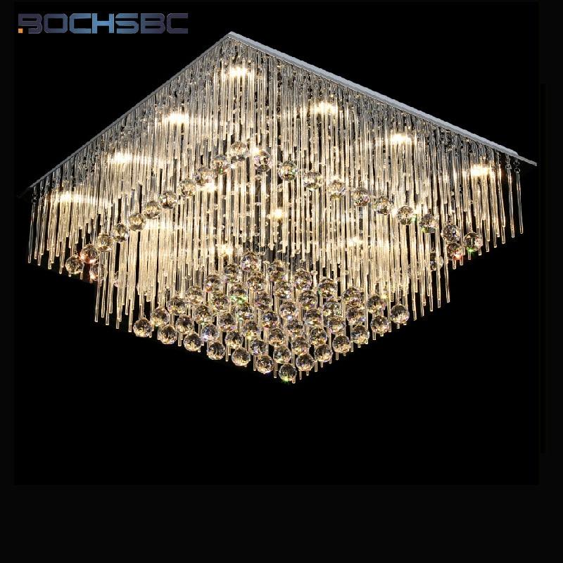 BOCHSBC K9 Iluminação do Candelabro de Cristal Luminária de Teto LED Forma Redonda Suspensão Hanglamp Lâmpada lustre Sala Luz de Escurecimento