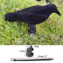 Garden Flocked Hard Plastic Black Crow Hunting Decoy Raven Halloween Prop Outdoor Hunting