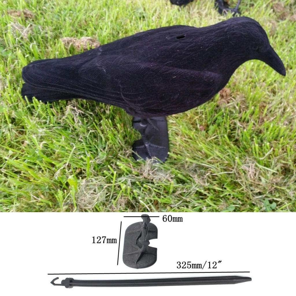 Jardín flocado plástico duro cuervo negro caza señuelo Cuervo Halloween Prop caza al aire libre Mal Cuervo Cable