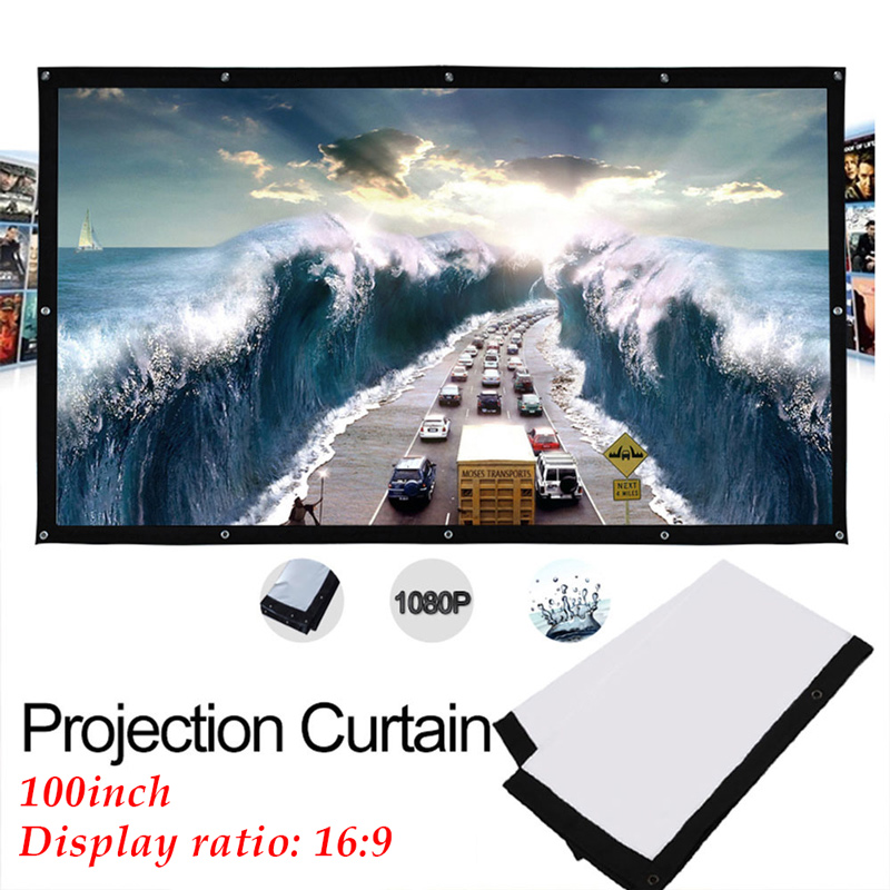 Portable HD Projector Screen 100/120 inch 16:9 Folded White Front Projection Screen Outdoor Home Theater Thick Durable