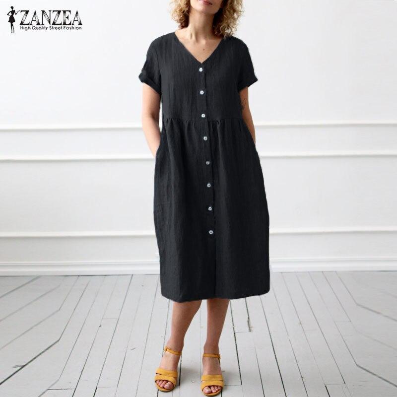 2019 Summer Dress Women Casual Solid Vestidos ZANZEA Ladies Cotton Linen Buttons Down Sundress Party Mid Calf Dresses Plus Size