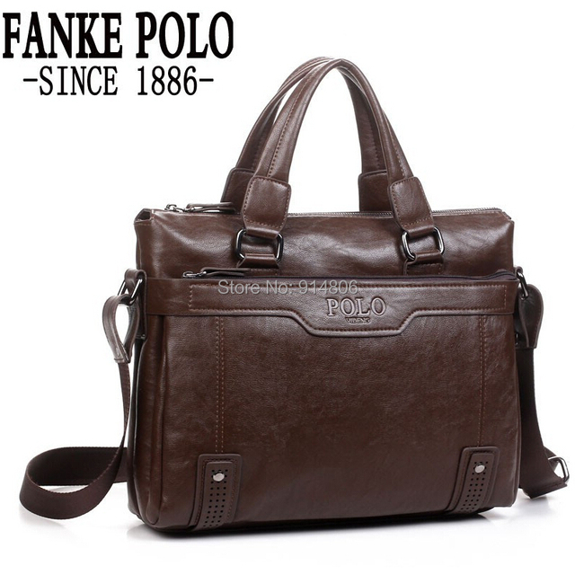 2014 New Top Fashion POLO PU Leather Bags For Men Brand Mens Shoulder Bag  Leather Messenger b37be64dcd118