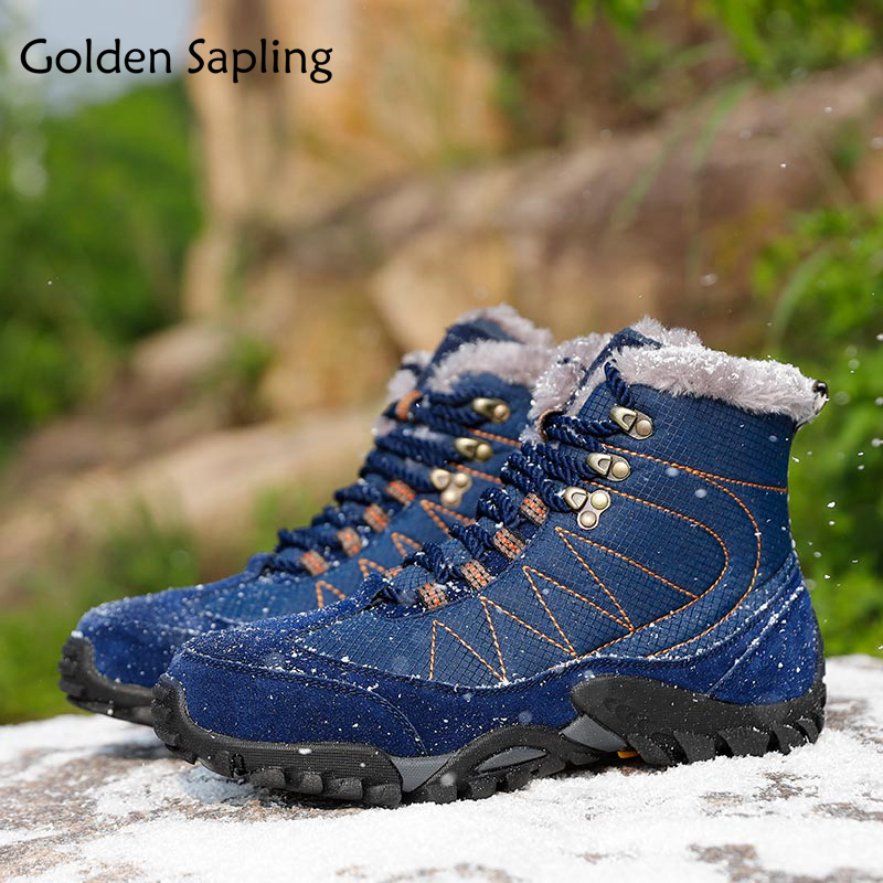 Golden Sapling Hiking Shoes Mens Winter Boots Fur Leather Men's Sneakers Mountain Outdoor Shoes Men Sport Climbing Tactical Boot