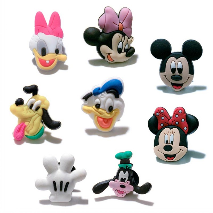 8PCS Lovely Mickey Minnie PVC Shoe Charms Shoe Buckle Accessories For Croc Decoration For Bracelets With Holes Kids Party Gifts