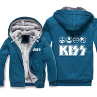 KISS Band Thickness Hoodies Adult Velvet Baseball Sweatshirts Men KISS Unisex Winter Jacket with Hat Warm Coat M 5XL size