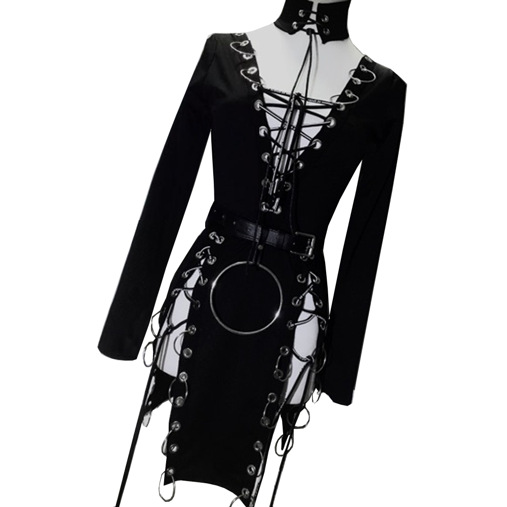 Womens Black Punk Choker Gothic Dresses Clothing Punk Rock Clothing  Harajuku Dress Women Style Clothing Vintage Bodycon Dress