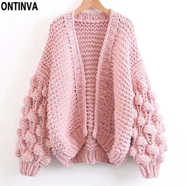 Pink Ball Cardigans Sweaters Woman Casual Winter Lantern Sleeve Oversize  Coat Ladies Knit Open Stitch Outerwear Jumper Free Size 2d1cb9fb7