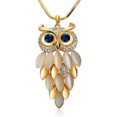 2016 Brand New Design Gold Necklace & Pendant Zinc Alloy Crystal Owl