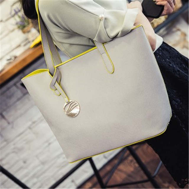 Online Shop Fashion Women PU Leather Handbags Large Shoulder Bags Tote Bag  Gray Black Ladies Hand Bag School Student SS0037  f837d58a6ae2a