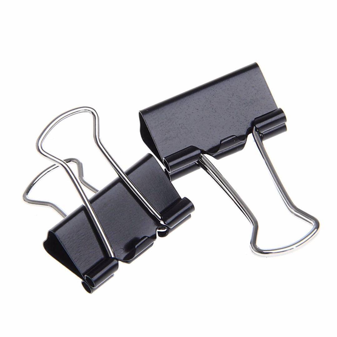48 Pcs 25mm Black Metal Binder Clips File Paper Clip