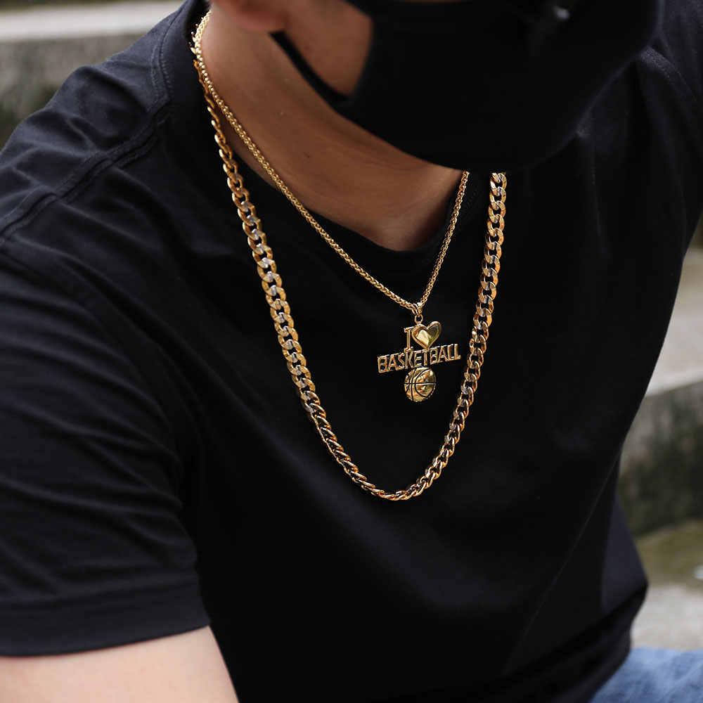 U7 Two Tone kolor złoty łańcuch dla mężczyzn Hip Hop biżuteria 9 MM Choker/długi Chunky duże Curb kubański link Biker naszyjnik mężczyzna prezent N552