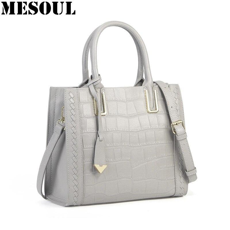 5 Color Tote Bags Women Genuine Leather Handbags Fashion Crocodile Pattern Hand Bag High Quality Shoulder