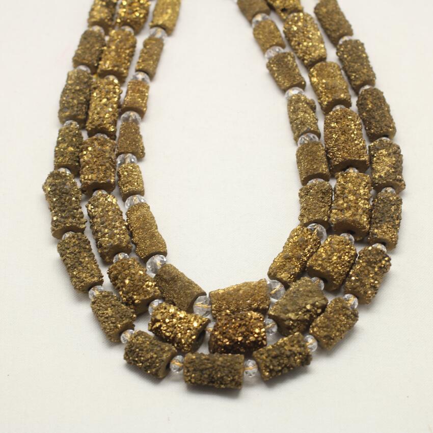 Mystic titane doré Geode Achate cylindre forme perles brin, foré rugueux Druzy lâche perles pendentif fabrication de bijoux