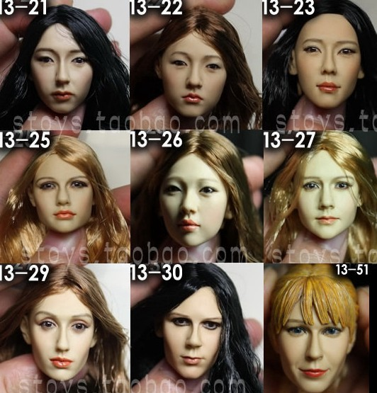 1/6 scale female head shape for 12 action figure doll accessories doll head carved not include the body,clothes and other KM13 1 6 figure doll head shape for 12 action figure doll accessories game of death bruce lee head carved not include body clothes