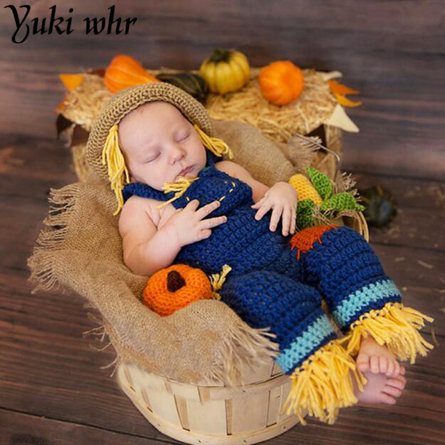 737c2c069d9 2018 Crochet Scarecrow Newborn Photography Props Knitted Costume for Baby  Boys Coming Home Outfits Baby Hat