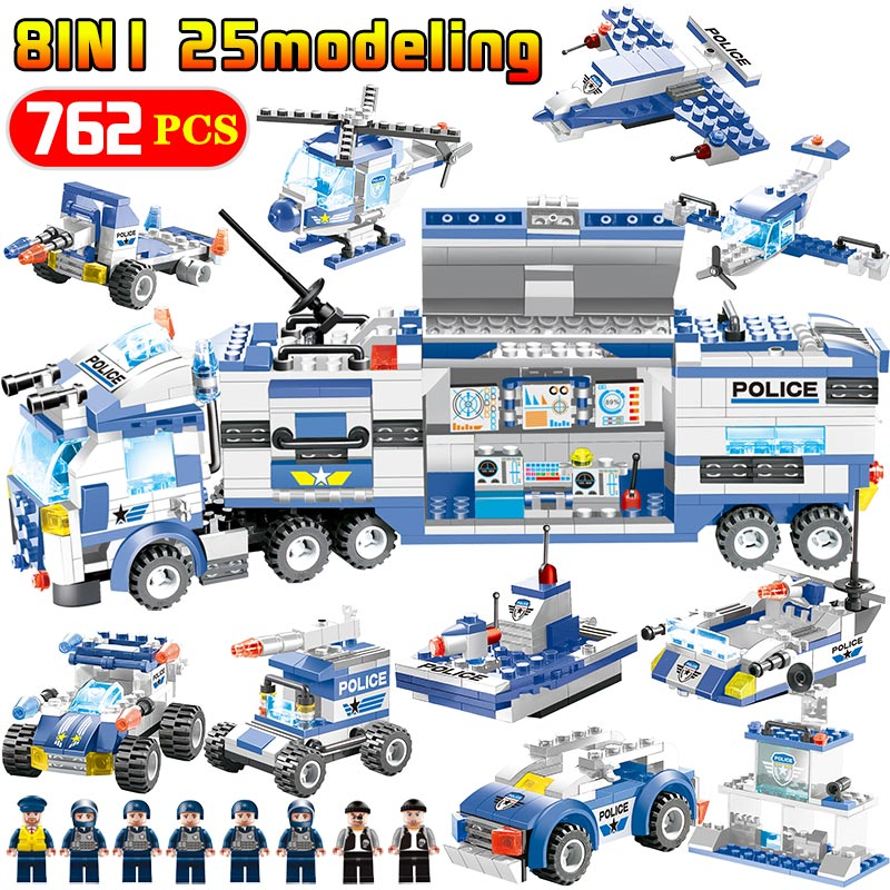 726PCS 647PCS SWAT City Police Truck Station Blocks Compatible Module LegoING City Mobile Police Figures Bricks Toy For Kids sermoido building block city police 2 in 1 mobile police station 7 figures 951pcs educational bricks toy compatible with lego