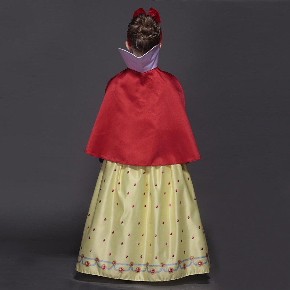 Robe blanche neige pour filles avec bandeau cape de luxe en velours brocart enfants fête de noël Cosplay Costume de princesse - 5