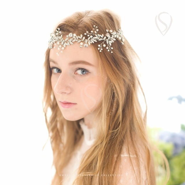 Bohemian Headpieces Handmade Wedding Hair Vine Tiara Pearl Rhinestone Headband Party Hats Bridal Band