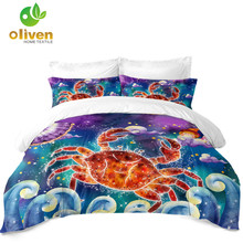 Cartoon Cancer Constellation Bedding Set Kids Princess Duvet Cover Colorful Galaxy Design Girls Bedclothes 3Pcs D35