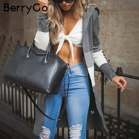 BerryGo Hooded knitting autumn sweater cardigan 2018 Casual long sleeve patchwork long cardigan Women slim winter sweater jumper