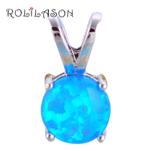 ROLILASON Gifts for Friends Blue Fire Opal 925 Silver Necklace Pendants Cheap Trendy Fashion Jewelry for