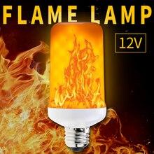 WENNI E27 LED Flame Effect Light Bulb E14 Fire DC 12V E26 Flickering Emulation Burning Decoration Lamp