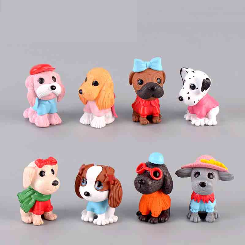 8 Pcs/set Cute Cartoon Dog Puppy Moss Micro Landscape Terrarium Figurine Decoration Resin Funny Ornament Fairy Garden Miniature