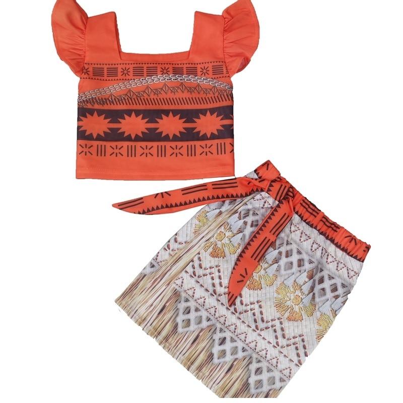 Costume de princesse Moana ensemble deux pièces habiller pour filles bébé Cosplay enfants jupe ensembles