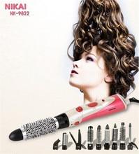 9 in 1 Hair Styler Brush dryer brand Comb Rotating Brush Hair Comb Hot air Brush Hairdryer Pro Styling Tools hair straightener