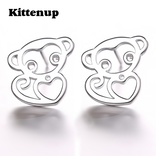 c1ce52190 Kittenup 2017 New Silver Color Monkey Earrings love pierced Korean version  Fashion Jewelry for Women
