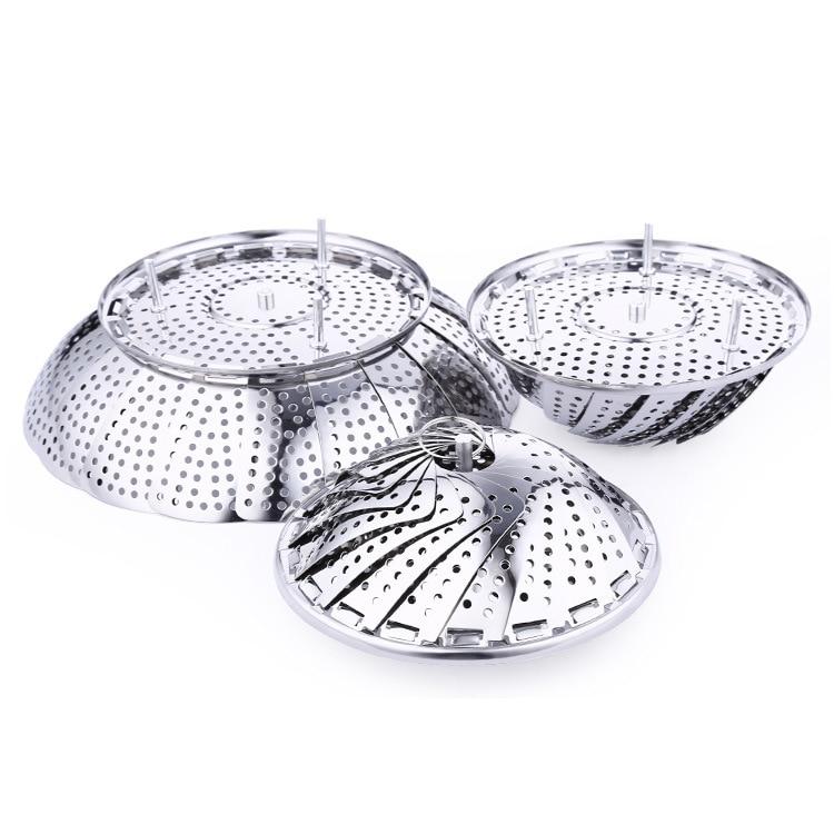 Stainless Steel Telescopic Folding Steamer Lotus Fruit Bowl Draining Steamed Steaming