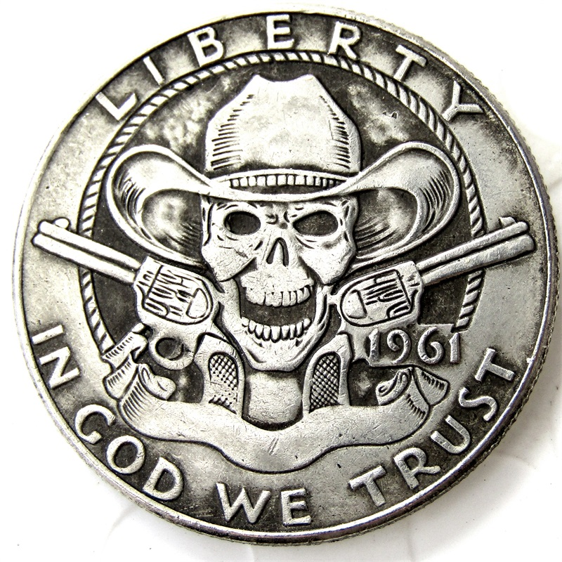 Hobo Creative 1961 Franklin Silver Half Dollar Cowboy Skull Zombie Skeleton Coin