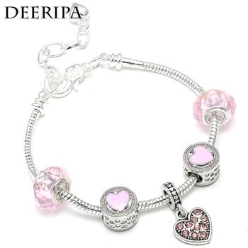 Trendy Pink Crystal Love Heart Dangle Charm Bracelet Glass Beads Fit DIY Brand Bracelets For Women Girls Party Jewelry Gift пандора браслет с шармами