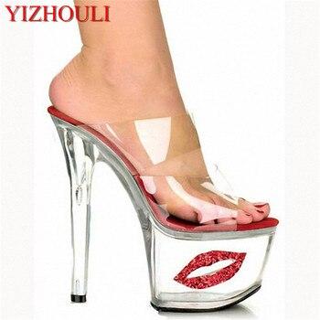 2018 Sexy Crystal Shoes 17cm Ultra High Heels Exotic Dancer Lips Platform Slippers Night Club 7 Inch High Heels
