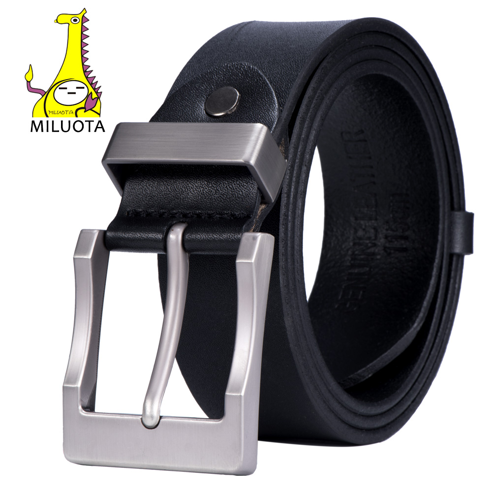 MILUOTA Leather Belt Men Luxury Strap Male Cow Genuine Leather Belts For Men Vintage Ceinture Pin Buckle Brand Belt Dropshipping