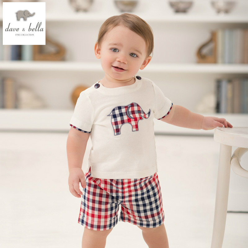 DB926 dave bella new summer printed short-sleeved baby clothing sets for boy printed sets infant set toddle clothes boys sets